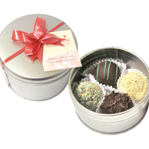 Lata con 4 trufas artesanales de sabores surtidos