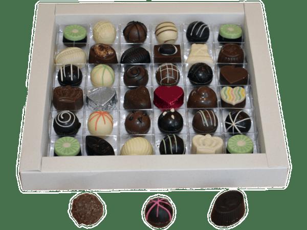 Caja x 36 U/500 g chocolates y/o trufas detalle 3